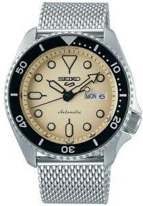 Seiko-5-Sports-Cream-Silver-Steel-Mesh-Bracelet-Auto-Men-Watch-SRPD67K1-RRP-300