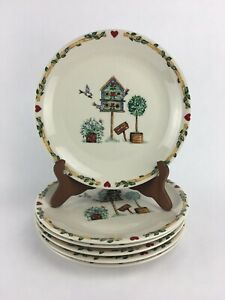Lot-of-6-Thomson-Pottery-BIRDHOUSE-Pattern-Dinner-Plates-10-1-4-inches