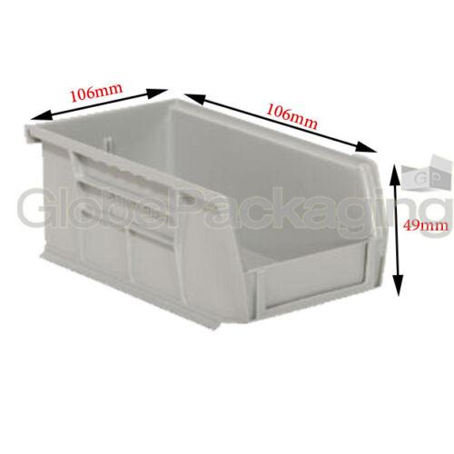 10 X Forte di plastica Storage impilamento PEZZI CONTENITORI prelievo caselle-dimensione 106x106x49mm
