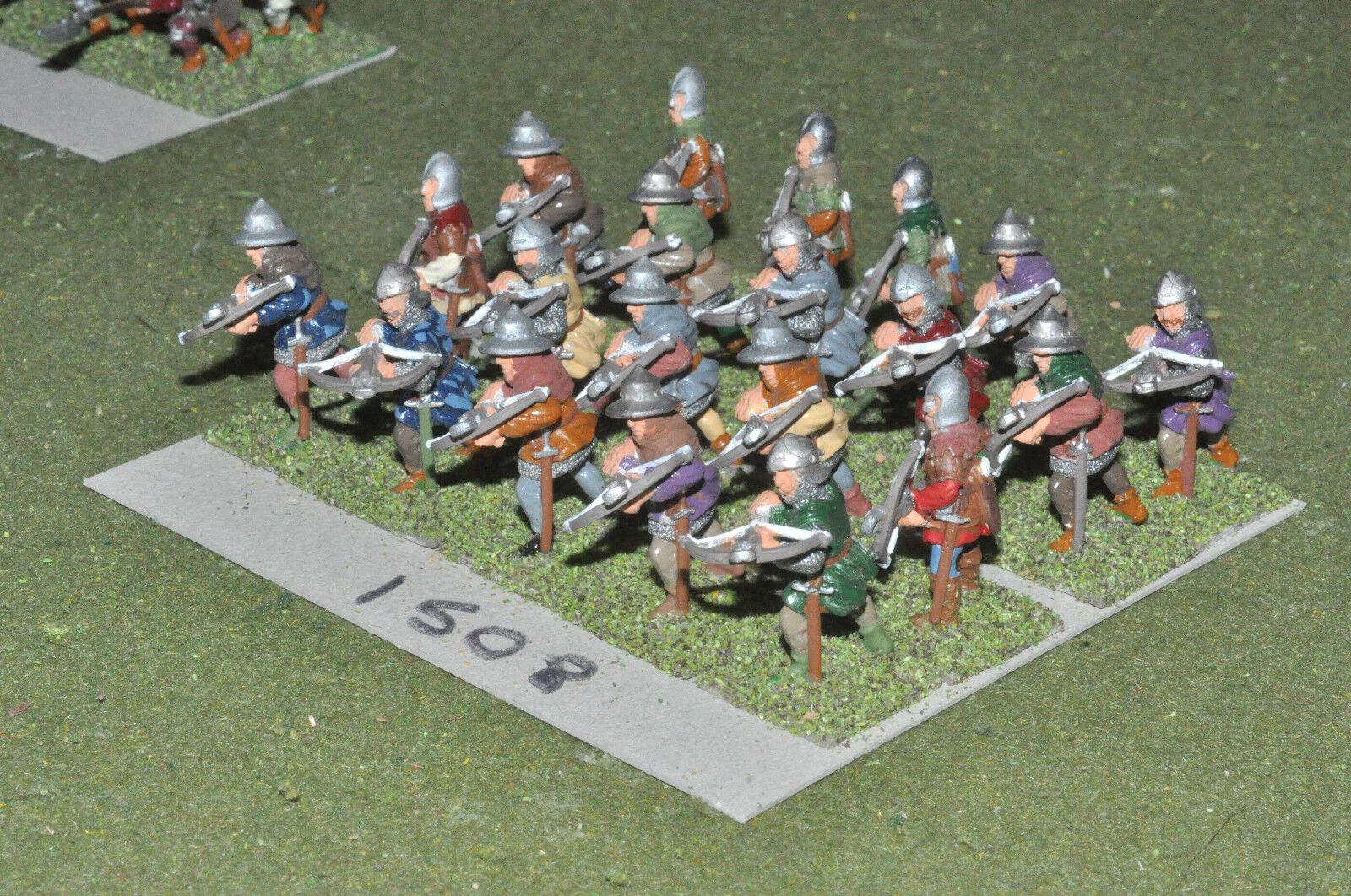 25mm medieval   generic - crossbowmen 20 infantry painted metal - inf (1508)