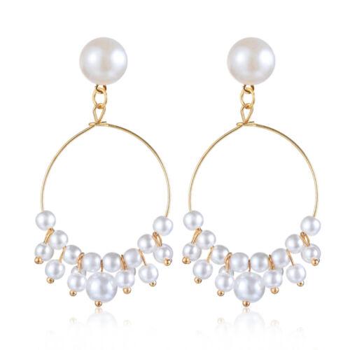 Elegant Big Pearl Kristall Ohrenstand fallen Ohrstecker Dangle Earrings