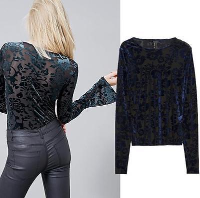 Womens Sheer Floral Velvet Zip Sleeve Blouse Shirt Top