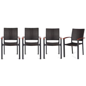 Tremendous Details About Set Of 4 Stacking Wicker Rattan Patio Dining Chairs Wood Outdoor Deck Furniture Spiritservingveterans Wood Chair Design Ideas Spiritservingveteransorg