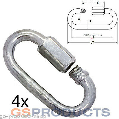 4 x 5mm Quick Links. Zinc Plated (Fasteners, Chain)