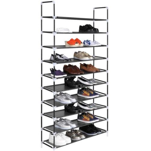 10 Tier 50 Pairs Storage Organizer Shelf Space Saving Shoe Wall Tower Rack Stand