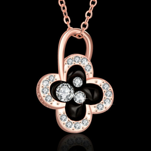 Lovely 18K Rose Gold Filled Clear Crystal Black Oil Drip Clover Necklace Gift