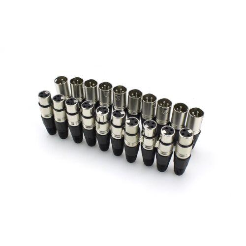 Klinkenstecker Schlange Stecker XLR 3 Pin 10 Audio Mikrofon Kabelstecker /&