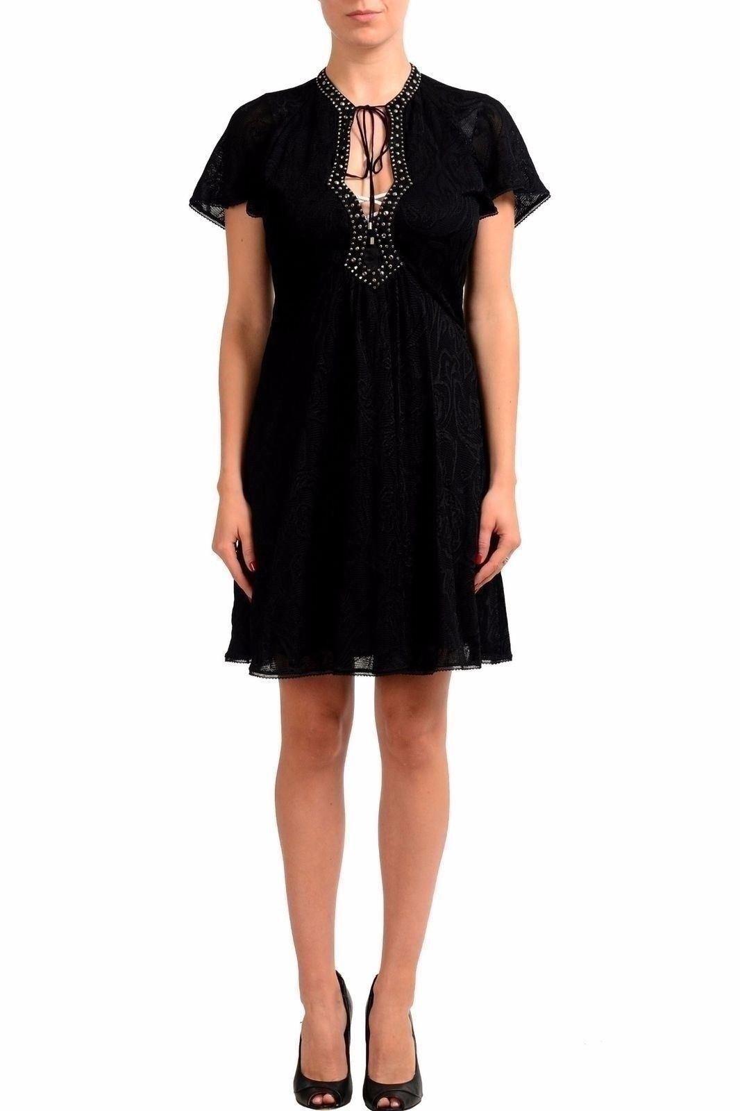 Just Cavalli Nera Metal Perline Decorato Donna Vestito con Fodero USA S It 40