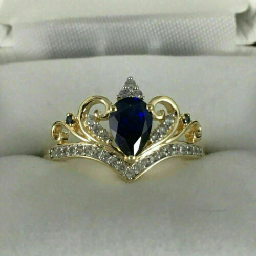 Details about  /Pear Cut Blue Sapphire /& Diamond Crown Engagement Ring 14K Yellow Gold Over 2ct