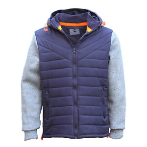 Men-039-s-Thick-Padded-Puffy-Puffer-Hooded-Jacket-Zip-Up-Winter-Quilted-Warm-Coat