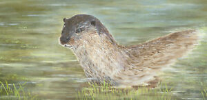 Maureen-Barnes-Signed-Contemporary-Acrylic-Return-of-The-Otter
