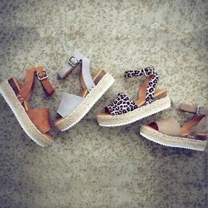 Ladies-Flat-Platform-Peep-Toe-Sandals-Espadrilles-Summer-Ankle-Strap-Pumps-Shoes
