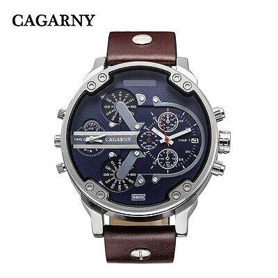 CAGARNY Relogio Casual Men's Leather Strap Quartz Watch 2 dials can work 6820
