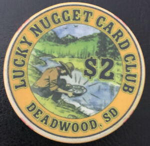 2-LUCKY-NUGGET-CARD-CLUB-CHIP-DEADWOOD-SD-Chipco-2006-Closed-Obsolete-NR-Mint