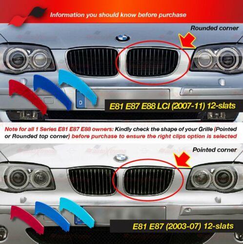 M-Potencia 12 Bar riñón Grille 3 Color De La Cubierta Para BMW 1 Series E81 E82 E87 E88 LCI