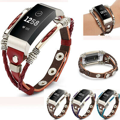 Replacement Leather Wristband Band Strap Bracelet For Fitbit Charge 3