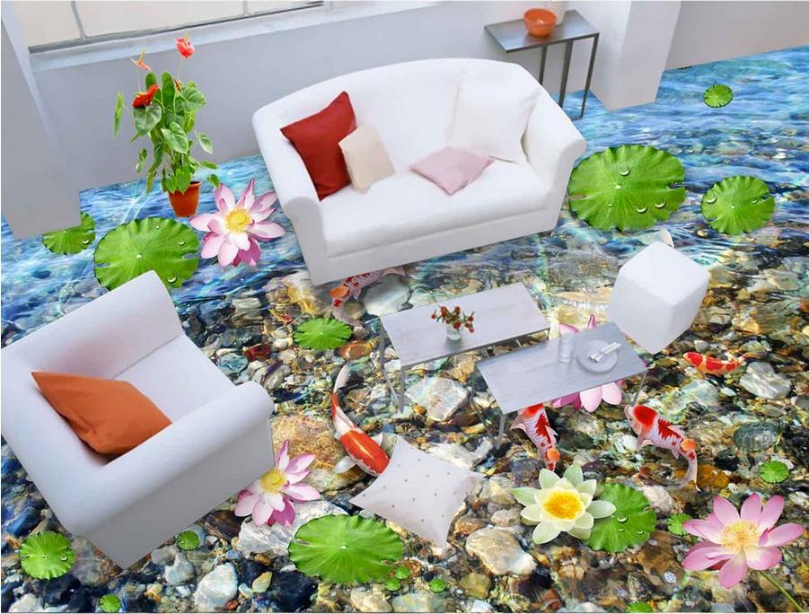 3D Lotus Rot Karpfen Fototapeten Wandbild Fototapete Tapete Familie DE Lemon