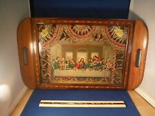 Vintage Christian Glass Covered Last Supper Butterfly Wing Accents Serving Tray