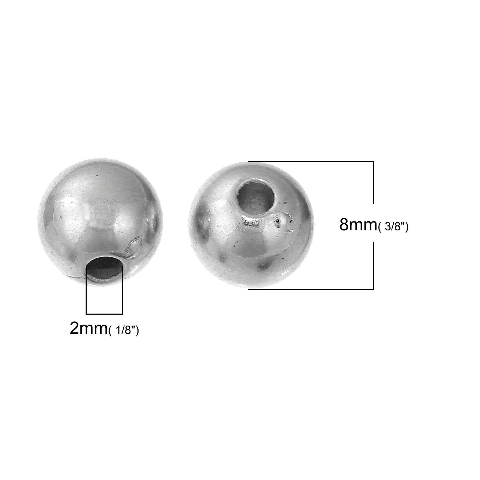 100 Silver Acrylic 8mm Spacer Beads Metallic Jewellery Making J22842W