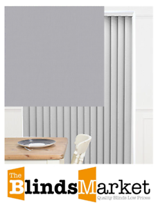 Complete Made To Measure Vertical Blind Bella Vellum Blackout Textured Grey