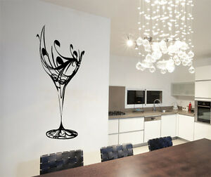 Abstract Wine Glass Wall Art Vinyl Stickers Kitchen Dining Transfer ...