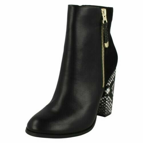 SALE F50685 LADIES ANNE MICHELLE ZIP UP DIAMANTE BLOCK HEEL CASUAL ANKLE BOOTS