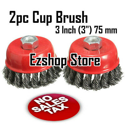 "4 pcs 3/"" Twist Cup Wire Wheel Brush 5//8/"" Arbor H-D Fits Most Angle grinders"