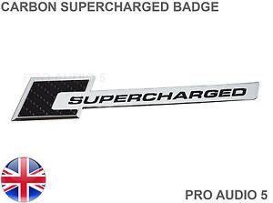 CARBON-BLACK-SUPERCHARGED-CAR-BADGE-CHROME-CAR-VAN-UNIVERSAL-UK-POST