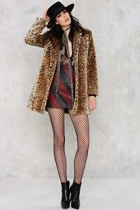River-Island-Taille-Uk-14-en-fourrure-synthetique-Leopard-Imprime-Animal-Manteau-Veste-Femme-Femmes