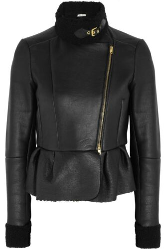 2013 MIU MIU BLACK SHEARLING GOLD BUCKLE SEXY SHORT JACKET EU 42 US 4