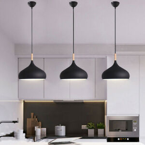 3x Kitchen Pendant Light Wood Lighting Modern