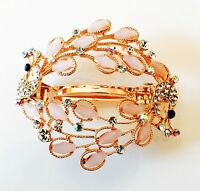 USA BARRETTE Rhinestone Crystal Hair Clip Hairpin Bridal Peacock Gold Pink F10