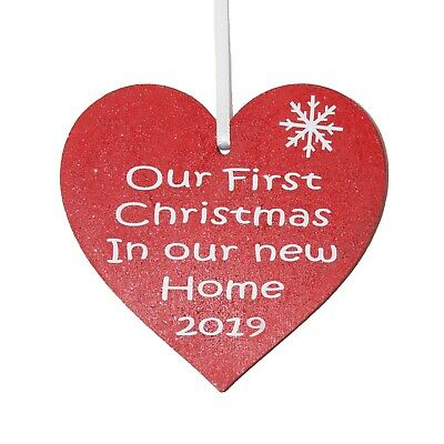 Our First Christmas in our New Home 2019 Red heart Christmas tree decoration