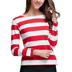 Women-Striped-Long-Sleeve-T-Shirt-Ladies-Casual-Pullover-Tunic-Tops-Loose-Blouse