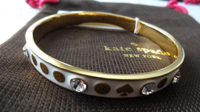 Kate Spade Spot The White Crystal Bangle Bracelet Gold Tone Bnwt