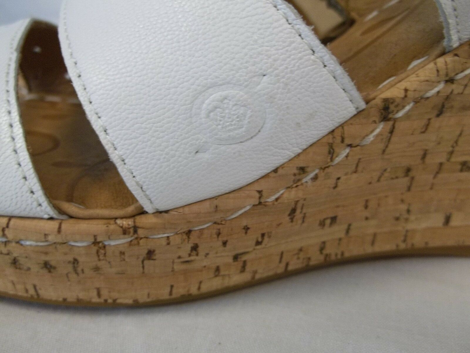 Born Size 10 M Marjorie bianca New Leather Open Toe Wedges New bianca Donna Shoes 7561b5