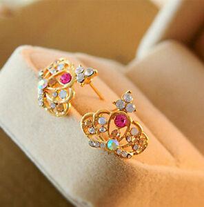 1 Pair Crown Fashion Lady Women Elegant Crystal Rhinestone Ear Stud Earrings xp