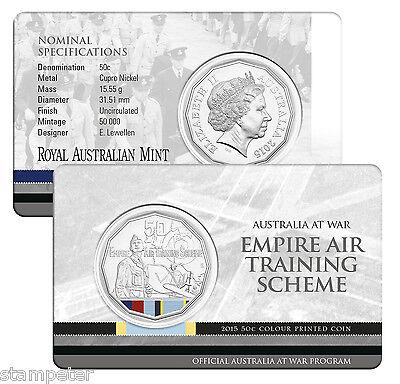 NEW UNCIRCULATED 2015 AUSTRALIA AT WAR EMPIRE AIR TRAINING SCHEME 50c RAM COIN
