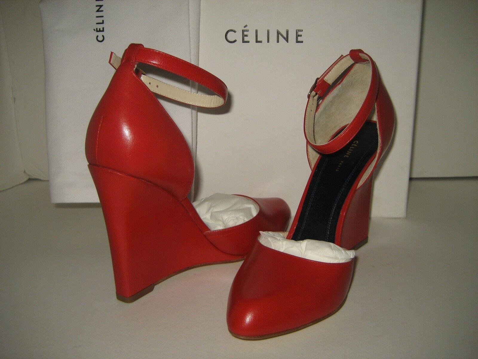 Nuevo Celine US 6.5 verdadero Rojo Cuero cuñas y Correa en el tobillo Vestido Zapatos de salón Bx
