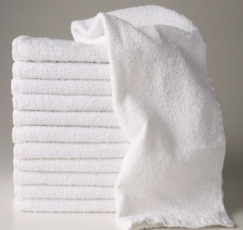 36 new white 16x27 p//c blend terry hand towels salon//gym//hotel soft absorbent