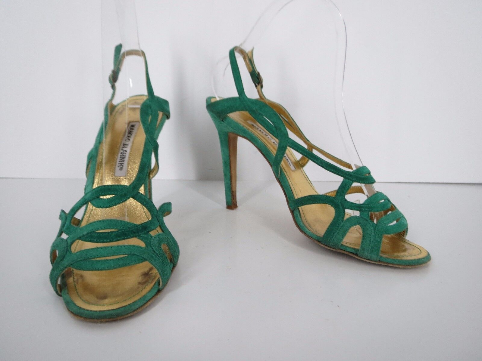 Manolo Blahnik Sandals Heels Size 7.5 37.5 Green Suede Strappy Criss Cross Italy