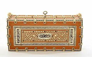 1900's India Anglo Sandalwood Wood Bovine Water Buffalo Bone Vizagapatam Box
