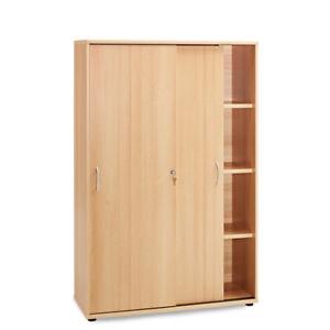 b ro aktenschrank 153cm schiebet ren buche ordnerschrank b roschrank b rom bel ebay. Black Bedroom Furniture Sets. Home Design Ideas