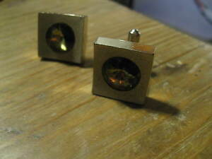 Amber Green Rhinestone 1960's Chunky Gold Tone Mod Cufflinks Suave Cuff Links