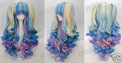 NEW Gothic Lolita Wig + 2 Pig Tails Set Pastel Rainbow Mix Blend Cosplay +gift