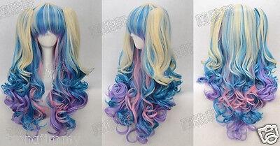 NEW Gothic Lolita Wig + 2 Pig Tails Set Pastel Rainbow Mix Blend Cosplay
