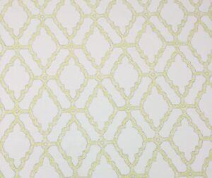 Ballard Designs Mila Citron Yellow Taupe Lattice Scroll Fabric By
