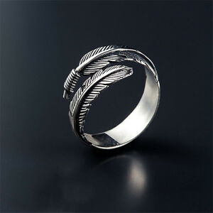 Antique-Silver-Feather-Ring-Plain-Best-Price-Jewelry-Adjustable-Open-Gothic-Ring