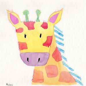 High Quality Image Is Loading GIRAFFE Original Watercolor Painting Nursey Kids Room  Animal