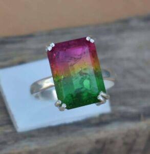 925-Sterling-Silver-Natural-Designer-Watermelon-Pink-Tourmaline-Handmade-Ring